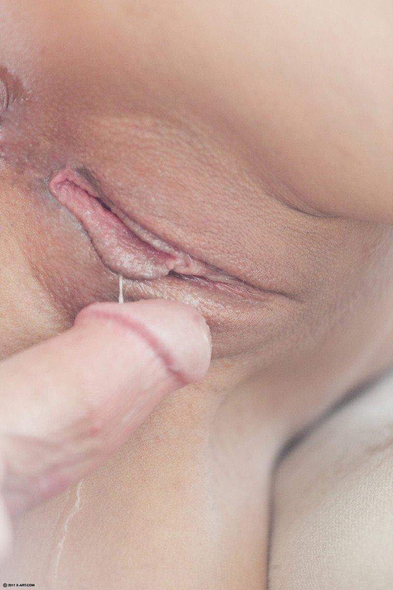 Милая, молоденькая брюнеточка Tiffany Thompson показывает узкую, привлекательную вагину и отдается парнишке